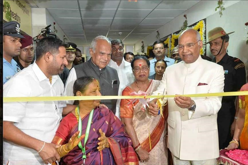 President of India cutting ribbon for opening of Sri Narayani Cardiac Cath Lab and Open Heart Surgery Suite